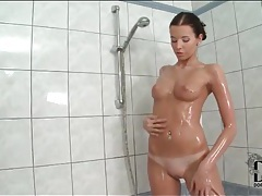 Angel hott rubs her perky tits in the shower tubes