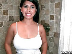Latina layla rose takes a sexy shower tubes