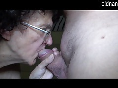 Very old granny sucking on fat cock tubes