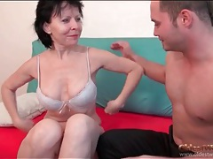 Mature sucks and sits on young man dick tubes