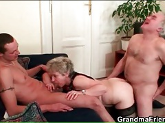 Husband and wife fuck young guy in threesome tubes