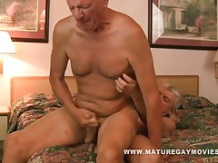 Hot silverdaddy breeds his frinds ass bareback tubes