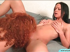 Lusty lesbian pussy eating and strapon sex tubes