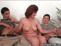 Mature nude model sucks on young artists tubes