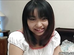 Sweet japanese teen in long white dress tubes