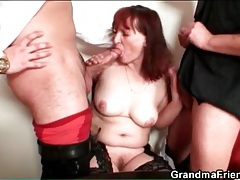 Sexy old redhead in stockings has threesome tube