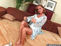 Older lady with hot body gets drilled on the couch tubes