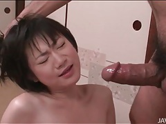 Skinny chick face fucked and eating asshole tubes