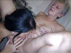 Skinny brunette goes down on granny vagina tubes