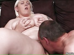 Shaved bbw pussy eaten out and laid tubes