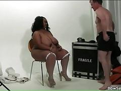 Black fatty sucks his hard white boner tubes