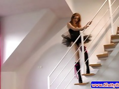 Young teen amateur on stairs masturbates tubes
