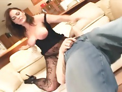 Cunnilingus with a busty babe in crotchless nylon tubes