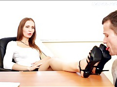 Secretary in high heels tramples him tubes