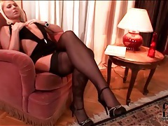 Super slutty dress on blonde in stockings tubes