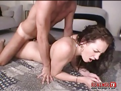 Moaning young brunette banged in doggystyle tubes