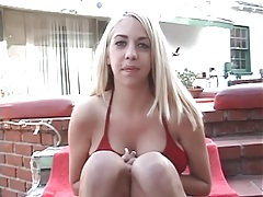 Blonde laid in shaved pussy outdoors tubes