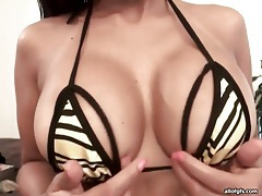 Fake tits look incredible in close up tubes