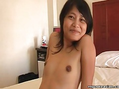 Cute asian moans as he fucks her pussy tubes