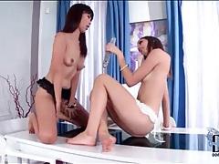 Babes share long dildo in lesbian sex scene tubes
