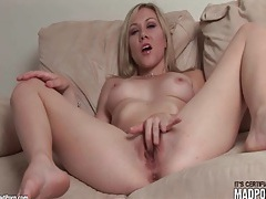 Blonde talks dirty and masturbates her pussy tubes