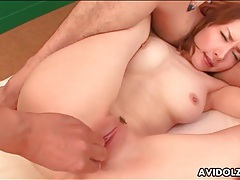 Fingers deep into japanese pussy tubes