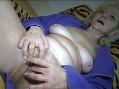 Solo blonde grandma masturbates hairy box tubes
