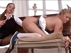 Submissive schoolgirl eats out mistress pussy tubes