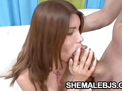Melanie - spicy latina shemale blowing a huge dick tubes