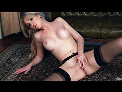 Stockings and garter belt on masturbating babe tubes
