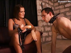 Slave eats out the asshole of mistress tubes