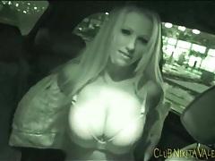 Nikita valentin models big tits in the car tubes