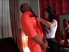Lady cop sucks black cock of prisoner tubes