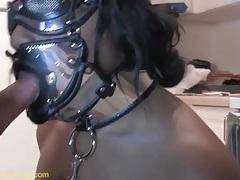 Black girl in kinky bdsm mask sucks dick tubes