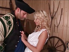 Sexy farmgirl with curly blonde hair licked tubes