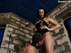 Mistress abuses him beautifully in dungeon tubes