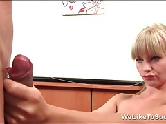 Blonde takes his load and spits out his cum tubes