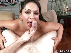 Brunette slut swallows dick entirely tubes
