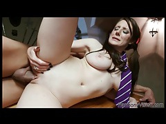 Brunette in long pigtails fucked in bald box tubes