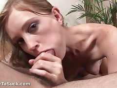 Skinny girl sucks off a dick with passion tubes