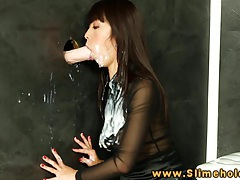 Maica hase asian getting bukkake at the gloryhole tubes