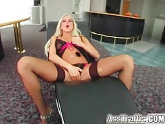 Horny blonde in sexy fishnets fucked anally tubes