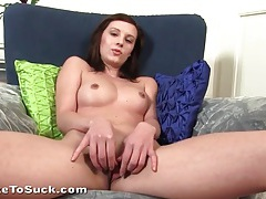 Young lady with hard nipples rubbed in close up tubes