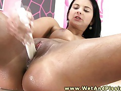Piss fetish babe drenches self in piss tubes
