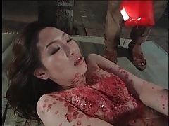 Japanese girl craves hot wax on her body tubes