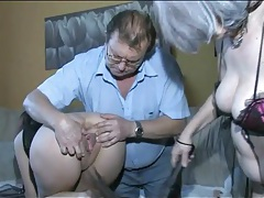 Girl on a leash serves sexy mature couple tubes