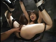 Anal play stretches out bound japanese girl tubes