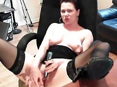 Webcam girl masturbates in sexy stockings tubes