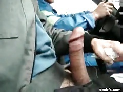Masturbating in the car as they drive around tube