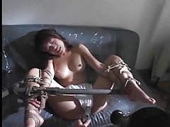 Food and objects shoved in her pussy tubes
